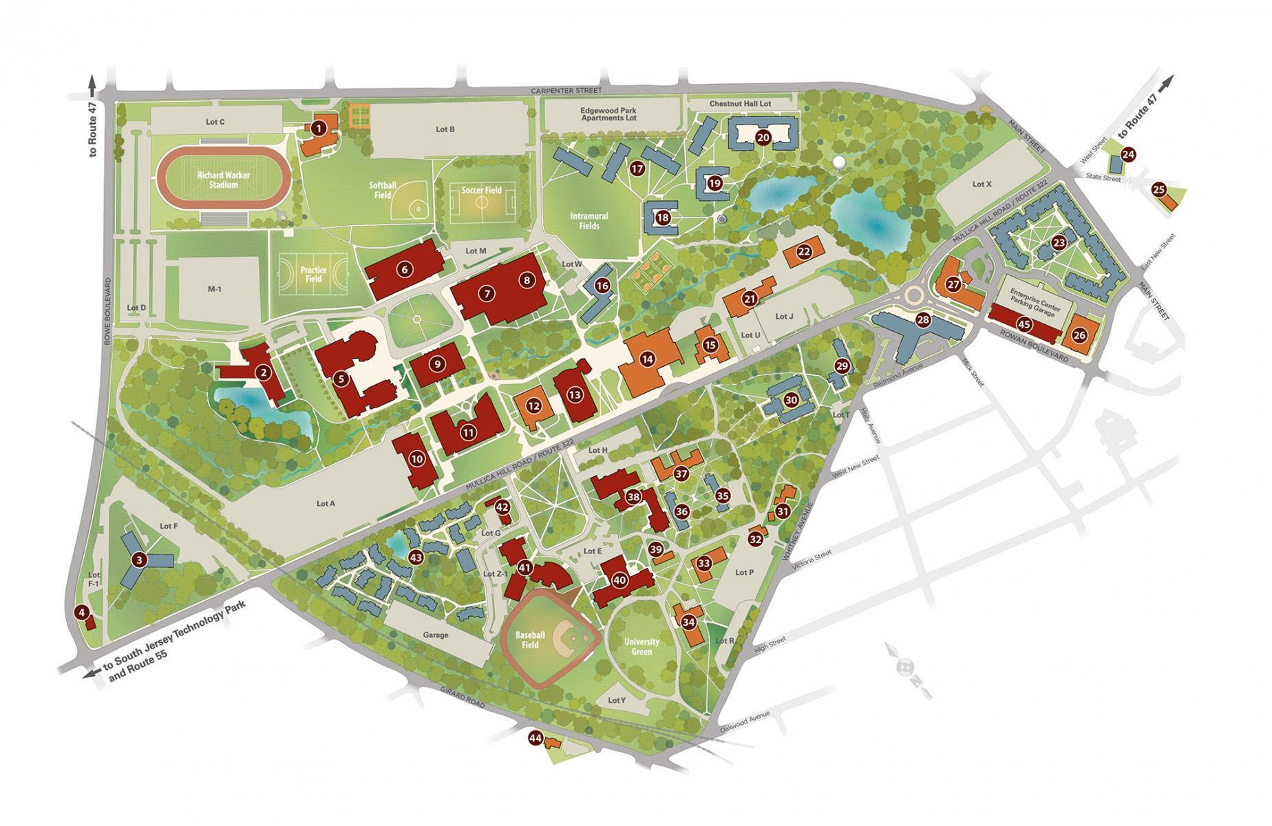 map of rowan university campus Rowan University Volleyball Camps Camp Location map of rowan university campus